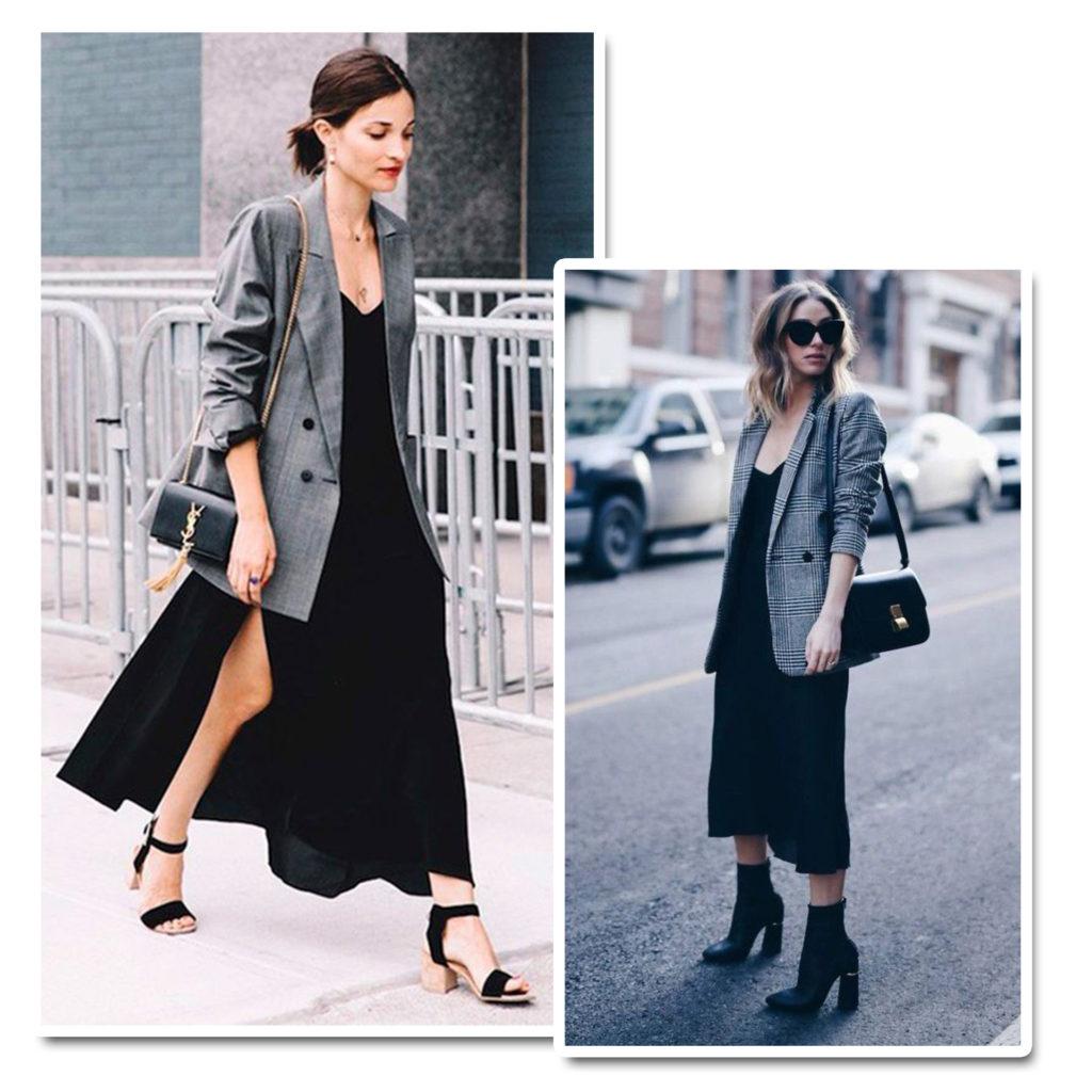 blazer xadrez e vestido como usar